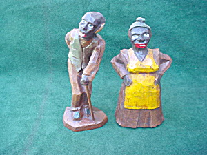 Black Americana Man & Woman Wood Figures (Image1)