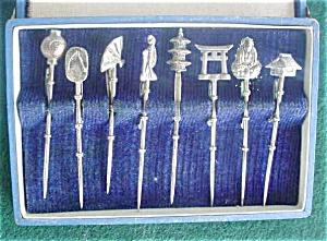 8 Pc. Oriental Sterling Stick Pin Set w/Box (Image1)