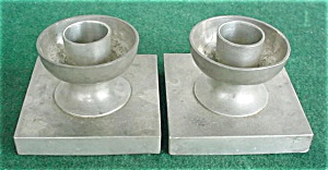 Pr. of Alloy Art Pewter Candleholders (Image1)