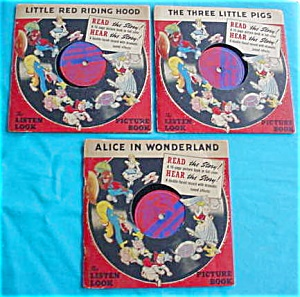 (3) 40's Childrens Storybooks w/Records (Image1)