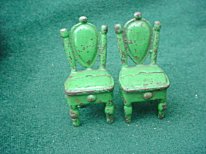 Pr. of Vintage Cast Iron Doll Furn. Chairs (Image1)