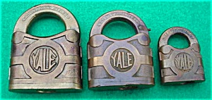 (3) Old Yale Brass Locks:  Sm., Med., Lg. (Image1)