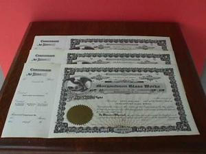 3 Morgantown Glass Works Stock Certificates (Image1)