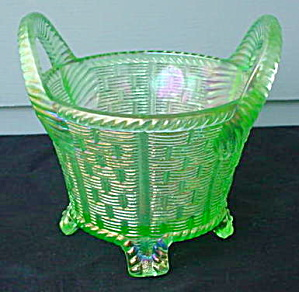 Northwood Carnival Glass Green Handled Basket (Image1)