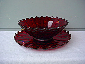 Fostoria Holly & Ruby 10 in Bowl w/Underplate (Image1)