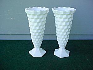 Pr. of American Fostoria Milk Glass Bud Vases (Image1)