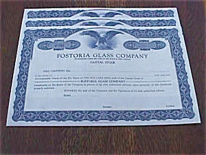 Set Of 3 Fostoria Stock Certificates