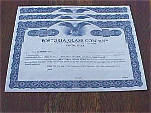Set of 3 Fostoria Stock Certificates (Image1)