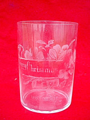 Merry Christmas Fostoria Glass Etched Tumbler