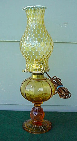 Lg. Fostoria Amber Coin Patio Lamp W/shade