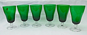 6 Green Fostoria Colonial Dame Ice Tea Goblet (Image1)