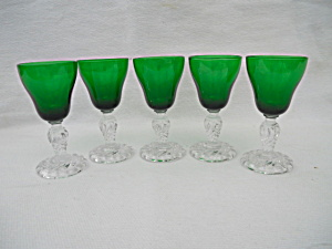 5 Green Fostoria Colonial Dame 1 oz. Cordials (Image1)