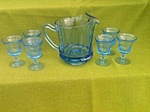 Blue Fostoria Jamestown Pitcher w/6 Glasses (Image1)