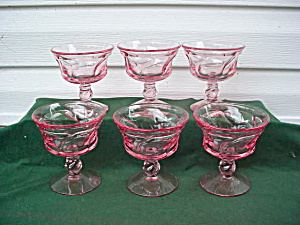 6 Fostoria Pink Jamestown Sherbets (Image1)