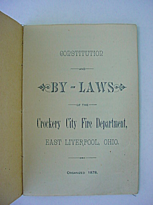 1878 Constitution & Laws Crockery Fire Dept. (Image1)