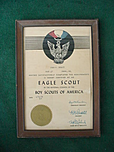 1936 Framed Eagle Scouts Certificate (Image1)