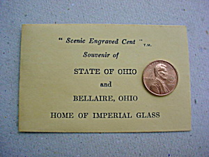 Imperial Glass Souvenir Penny W/envelope