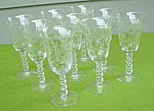 (8) Imperial Candlewick Floral Etch Goblets (Image1)