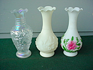 3 Imperial Glass Floral Bud Vases
