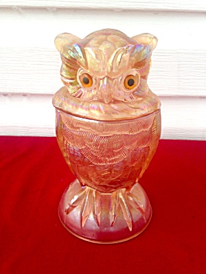 Imperial Carnival Glass Owl Glass Candy  (Image1)