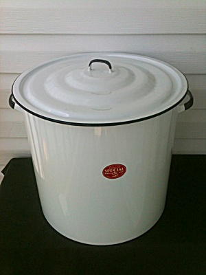 Very Lg. Enameled Stock Pot W/org. Box