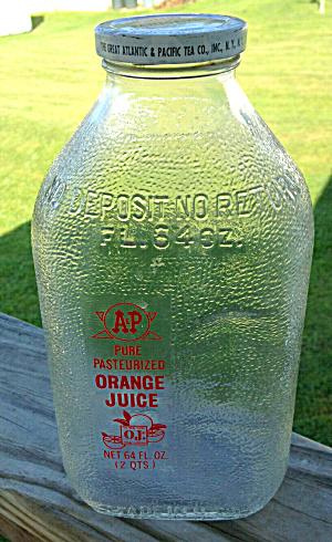 A&P 2 Qt. Glass Orange Juice Bottle (Image1)