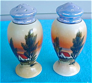 Pr. of Porcelain Scenic Shakers (Image1)