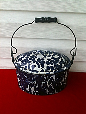 Dark Blue & White Swirl Graniteware Lunch Box (Image1)