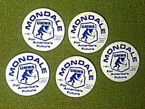 MONDALE America's Future UMWA Mining Stickers (Image1)