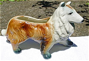 Lg. Collie Dog Pottery Planter (Image1)