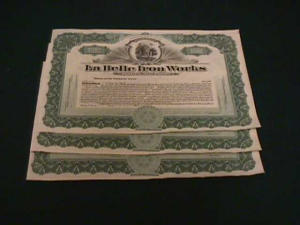 (3) La Belle Iron Works Stock Certificates (Image1)
