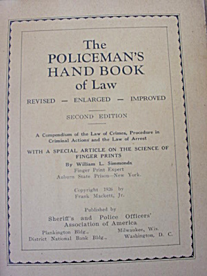 1926 Police Policeman Police Officer Handbook (Image1)