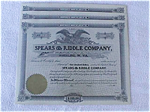 Spears & Riddle Wheeling WV Stock Certificate (Image1)