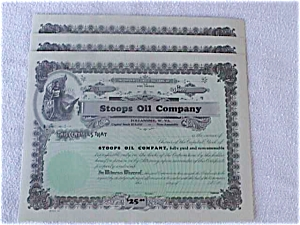 3 Stoops Oil Follansbee WV Stock Certificates (Image1)