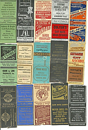 Old Pharmacy Drug Store Matchbook Covers