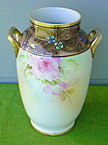Lg. Beatuiful Hand Painted Nippon Floral Vase (Image1)