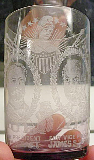 08 Taft & Sherman Presidential Campaign Glass