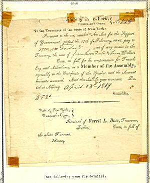 NY Assemblyman McFarland 1819 Document (Image1)