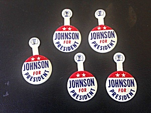 5 Johnson For President Tab Pins (Image1)