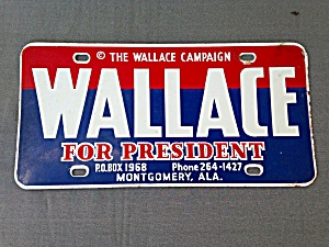 Wallace For President License Plate (Image1)