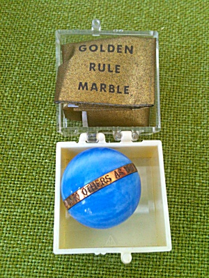 Blue & White Golden Rule Marble W/paperwork