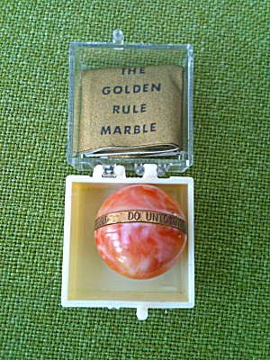 Orange/red Golden Rule Marble W/paperwork
