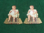 Click here to enlarge image and see more about item adv9: (2) Nice Old Mellins Food Fold Up Trade Cards
