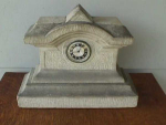 Click here to enlarge image and see more about item c1: Early, Gray Granite Stone Mantle Clock