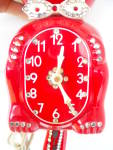 Click to view larger image of Jewled Red Animated Kit Cat Klock Clock w/Box (Image4)