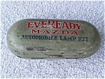 Click here to enlarge image and see more about item car31: Early Eveready Mazda Auto Lamp Kit Tin