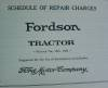 Click to view larger image of Fordson Tractor Schedule of Repair Charges (Image2)