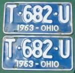 Matching Pr. 1963 Ohio License Plates