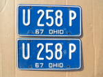 1967 Ohio License Plates Matching Pair