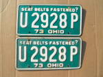1973 Ohio License Plates Matching Pair